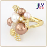 Wholesale Zinc Alloy Gold Plating Pearls Flower Fashion Jewelry Ring