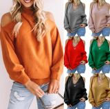 V-Neck Strapless Knitwear for Autumn Winter New European and American Sexy Cross Chest Wrap Backless Sweater Women