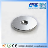 Strong N40 D28.575X3.175mm Ring NdFeB Counterbore Hole Magnet
