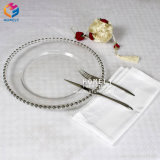 13inch Cheap Wholesale Wedding Gold Rose Gold Clear Glass Beaded Charger Plates