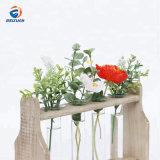 Latest Product Custom Design Cheap Wooden Decoration Glass Tube Flower Vase