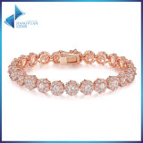 Luxury Real Chain Link Bracelet with Clear Cubic Zircon for Mother′s Day Gifts Jewelry Bracelet