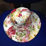 Customiz Floppy Bucket Strip Sun Hat with Flower for Summer