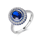 Ladies White Gold Sapphire Zirconia Engagement Ring
