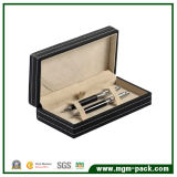 Exquisite Black Promotional Leather Wrapping Wooden Pen Case