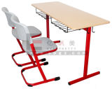 Middle School Wooden Study Double Desk and Chairs