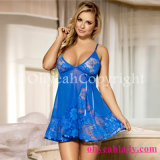 2017 Large Stock Hot Sale Cheap Paypal Accepted Soft Lace Blue Babydoll with G-String