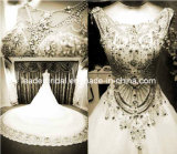 Crystals Bridal Ball Gowns Cathedral Lace Wedding Gowns H13904