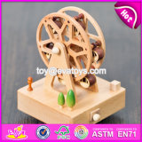 Wholesale Best Design Waterwheel Shape Children Wooden Music Box W07b037