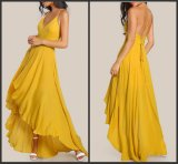 Backless A-Line Party Cocktail Dresses Yellow Chiffon Hi-Low Evening Dress Y2009