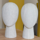 Linen Wrapped Female Head Mannequin for Headpieces Display