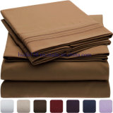 Luxury 100% Microfiber 1800 Thread Solid Embroidery Sheet Set/ Bedding Set/Bed Sheet Sets