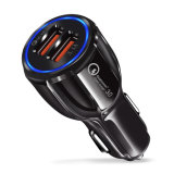Ce RoHS Quality 5V 3.1A 2-Port Dual USB Mini Car USB Charger with LED Display Screen