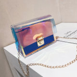 Glitter Holographic Chain Shoulder Bag Transparent PVC Women Jelly Purse