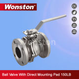 CF8 2PC Flange Ball Valve with Direct Mounting Pad ASME 150lbs