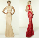 Red Cream Lace Prom Party Dress Vestidos Evening Dress Le1561