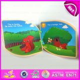 2015 Wooden Kids Learning Book Confirm to En71, Interesting Children Wooden Book, Cartoon Story Wooden Book Learning Toys W12e005