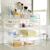 Acrylic Cosmetic Makeup and Jewelry Storage Case Display Great for Bathroom, Dresser, Vanity and Countertop