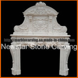 White Marble Double Fireplace Mantel / Marble Overmantel Mf1740