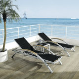 Aluminum Frame + Teak Arm Lounge / Cheap Beach Chaise Lounge by Wholesale (YTF393)