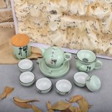 Green Embracing of Buddhism Ceramic Tea Set with Storage Canister and Gift Box