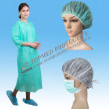 Disposable Cost-Effective Lab Coat/Visitor with Elastic Cuff Single Collar