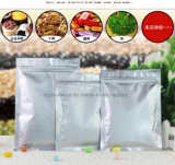 Flat Bottom Solid Silver Aluminum Foil Packing Valve Zipper Pouch/Reclosable Mylar Auto Zip Lock Bag for Candy Coffee