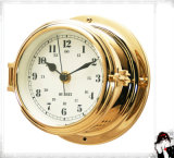 12 Hours Format Quartz Clock Arabic Dial 150mm Open Type Brass Case
