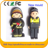 PVC Policeman USB Flash Memory Firemen Customized Pen Drive (EG059)