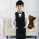 Black Pinstripe Boy Vest and Pant Formal Suit for Graduation