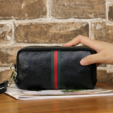 Purse Long Leather Hand Bag, Double Zipper Leather Large Capacity Card Bag