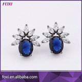 Women New Wholesale Copper Gemstone Jewelry Stud Earrings with Dark Rhodium Plated