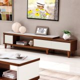 Living Room Elegant Wood Cheap Movable Glass TV Stand Furniture
