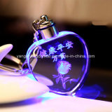 Wholesale Personalized LED 3D Laser Engraved Crystal Heart-Shaped Keychain