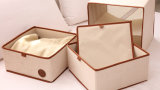 Collapsible Vintage Non Woven Fabric Covered Jewelry Storage Box with Drawer
