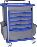 Hospital Furniture Easy Cleaning Emergency Trolley with Swivel Casters