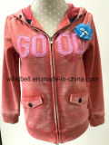 Burn out Rust Red Hoody Sportswear for Girl with Flower
