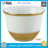 White and Golden Ceramic Coffee Cup Orientale Cafe Tasse