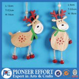 Wooden Reindeer with Jingle Bell for Hanging Ornament Decoration