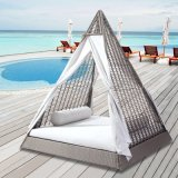 Outdoor Lounge Bed with Curtains 2-Person Sun Lounger with Curtains Patio Chaise Lounges Sunbed Outdoor Sofabed Garden Furniture