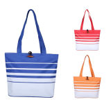 600d Striped Beach Bag with Wood Button and Lining