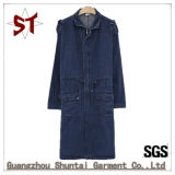 Fashion Lady Polo Collar Denim Autumn Long Coat