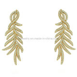Latest Design Beautiful Feather Earrings Brass Jewelry (KE3263)
