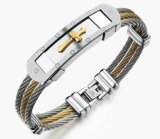 Fashion Male Cross Cable Bangles Twisted Silver Gold Stainless Steel Jesus Cross Charm Cuff Wire Bracelets Jewelry for Men