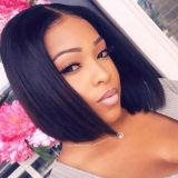Bob Wigs 100% Human Hair Light Yaki Straight Short Bob