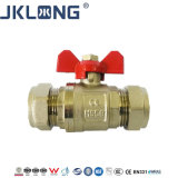 Brass Medical Gas Ball Valve for Copper Tube with En1254-2 Ms58 Material Brass Ring and Copper Rings Compression Gas Ball Valve