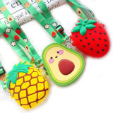 Waterproof Cute Cartoon Fruit Soft Silicone Rubber Wallet Pouch Coin Purse with Crossbody Strap