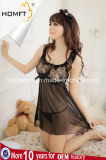 Manufacturer Hot Sale Sexy Transparent Black Lace Lingerie Midnight Hot Nightgown