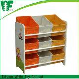 3-Tier Storage Shelf with 9 Non-Woven Boxes