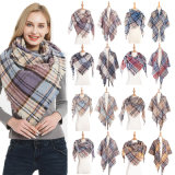 2020 Autumn Winter Plaid New Designer Scarf Shawl Polyester Monochromatic Bristle Triangle Scarf Women′s Scarf